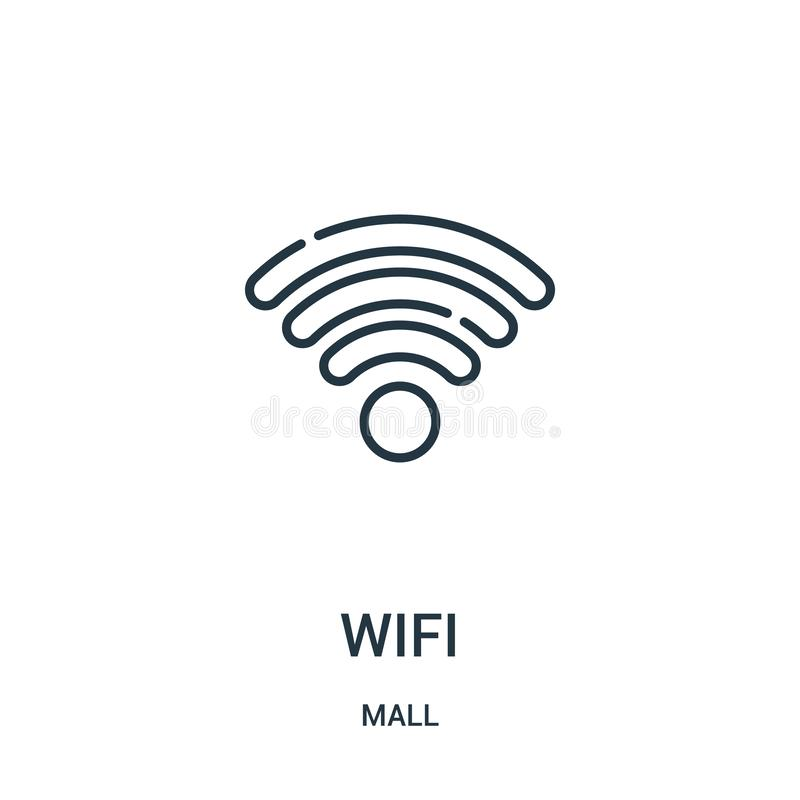 vetor do ícone do wifi da coleção da alameda Linha fina ilustração do vetor do ícone do esboço do wifi Símbolo linear para o uso  ilustração royalty free