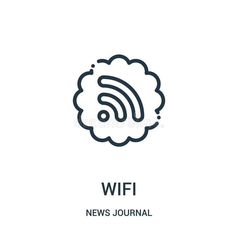 vetor do ícone do wifi da coleção do jornal da notícia Linha fina ilustração do vetor do ícone do esboço do wifi Símbolo linear p ilustração royalty free