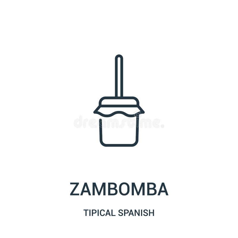 vetor do ícone do zambomba da coleção espanhola tipical Linha fina ilustração do vetor do ícone do esboço do zambomba Símbolo lin ilustração royalty free