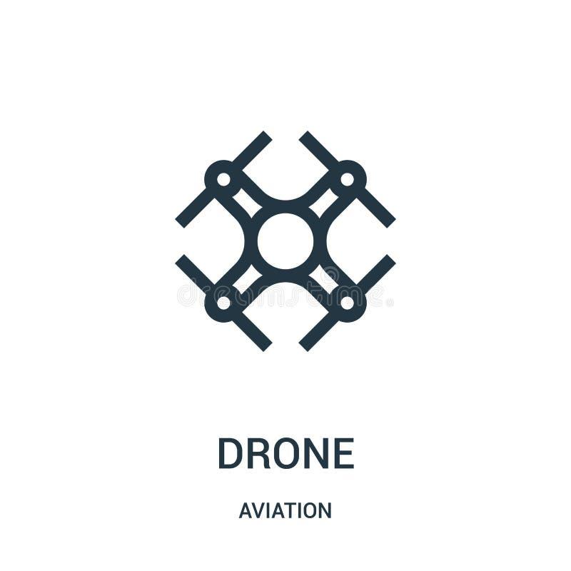 vetor do ícone do zangão da coleção da aviação Linha fina ilustração do vetor do ícone do esboço do zangão Símbolo linear para o