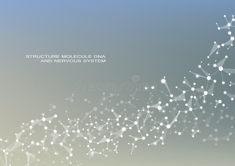 Vetor do ADN e dos neurônios da molécula Estrutura molecular Linhas conectadas com pontos Compostos químicos genéticos Química ilustração do vetor