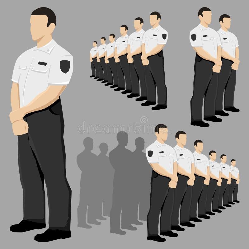 Vetor do agente de segurança da polícia ajustado com uniforme preto e branco ilustração do vetor