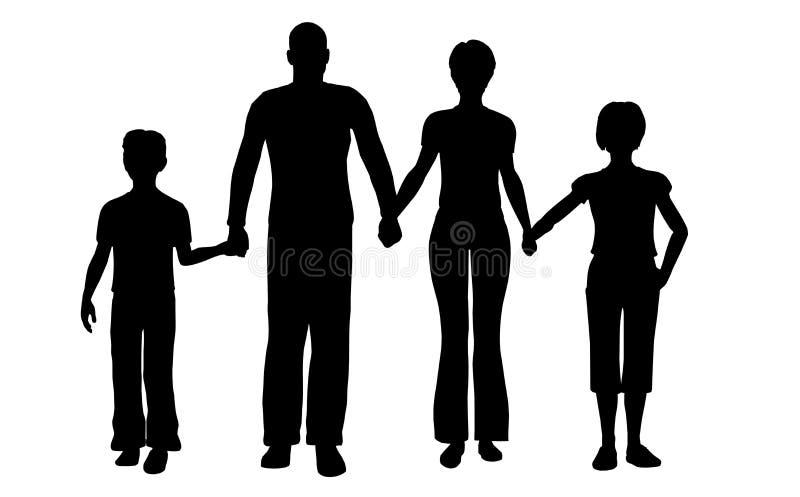 Vetor do agregado familiar com quatro membros ilustração stock