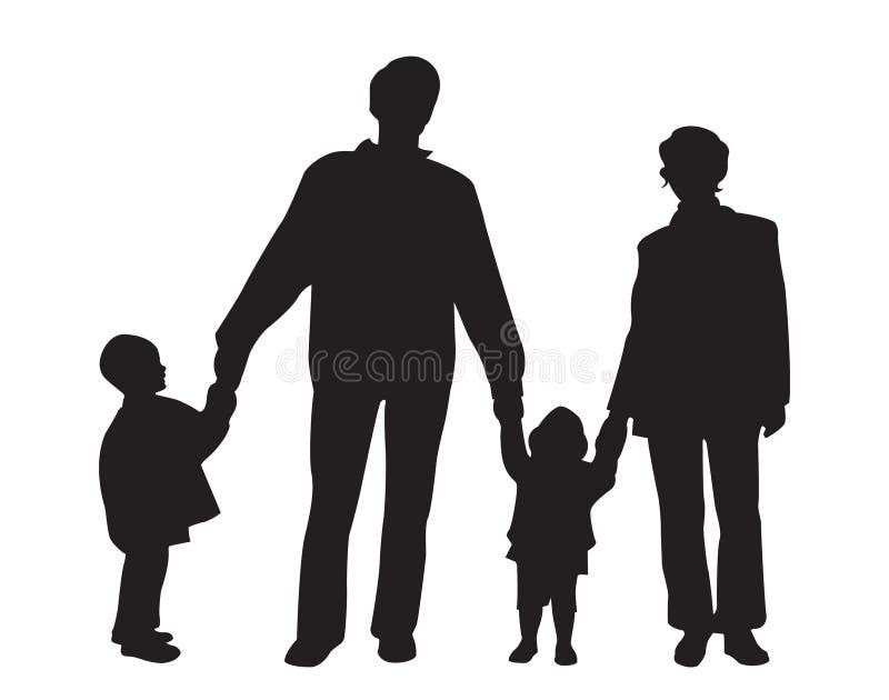 Vetor do agregado familiar com quatro membros ilustração royalty free