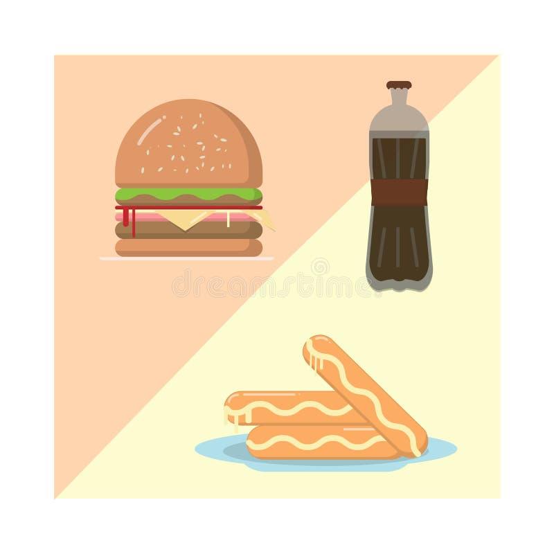 Vetor do alimento e da bebida do refresco da salsicha do Hamburger fotografia de stock royalty free