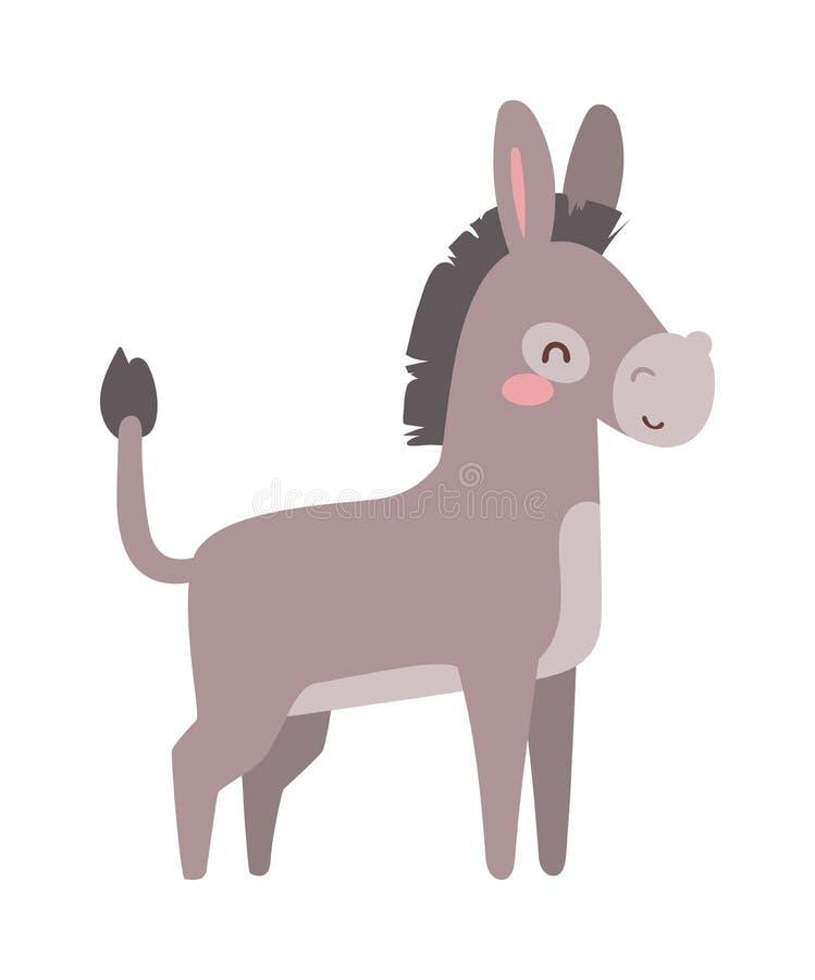 Vetor do animal do asno dos desenhos animados ilustração royalty free