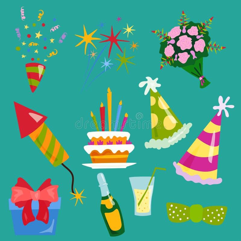 Vetor do aniversário do evento do cocktail da decoração da surpresa do feliz aniversario da celebração dos ícones do partido ilustração royalty free