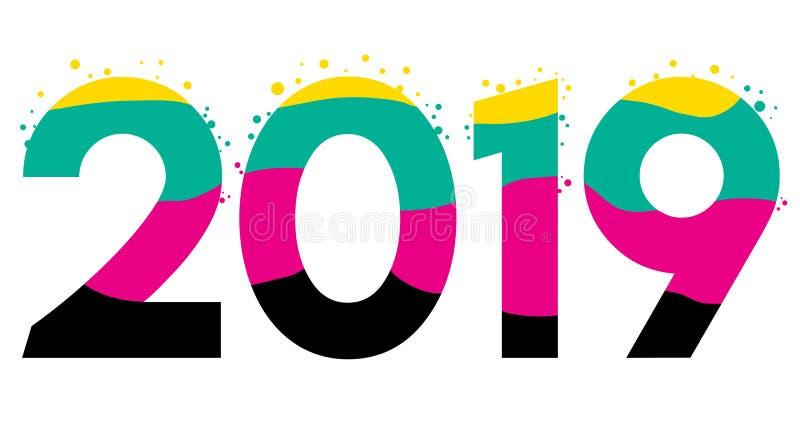 Vetor do ano 2019 novo, partículas coloridas ilustração do vetor