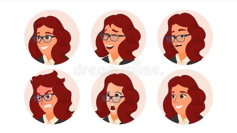 Vetor do Avatar da mulher de negócio Cara da mulher, emoções ajustadas Placeholder criativo fêmea Menina moderna Art Isolated côm ilustração do vetor