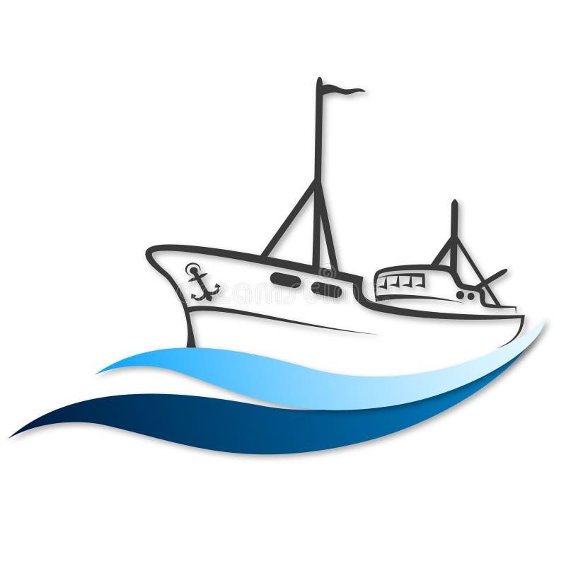 Vetor do barco de pesca ilustração royalty free