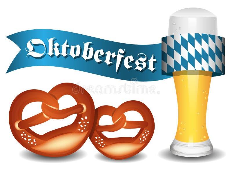 Vetor do bavaria de Oktoberfest com cerveja e pretzeis ilustração stock