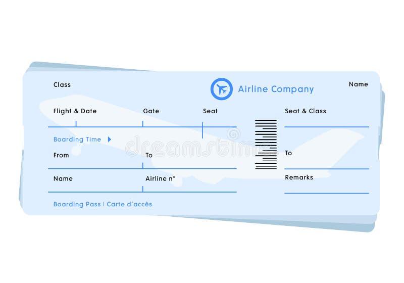 Vetor do bilhete do vôo da linha aérea ilustração royalty free