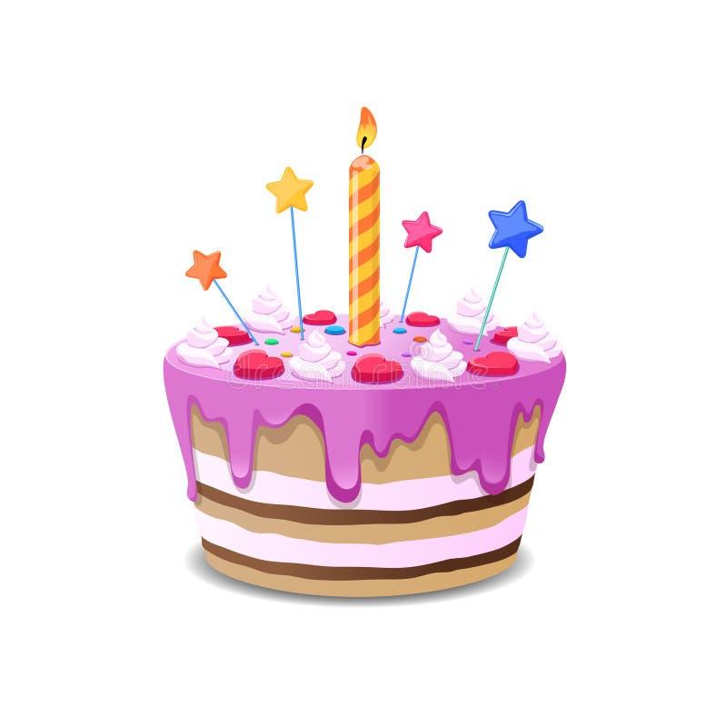 Vetor do bolo de aniversário ilustração royalty free