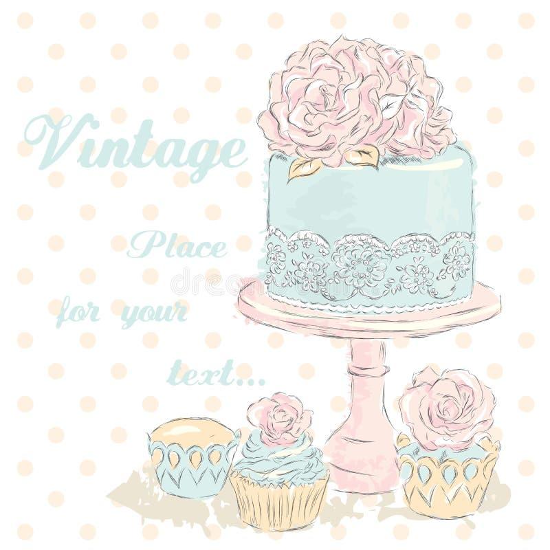 Vetor do bolo de casamento watercolor Cartão de casamento vintage fotos de stock royalty free