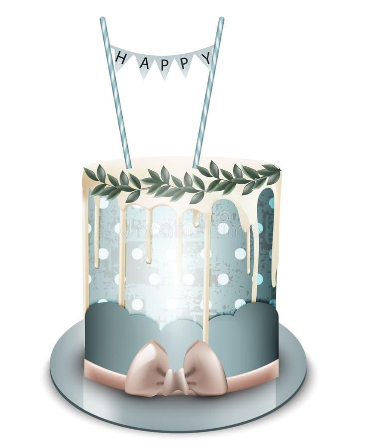 Vetor do bolo do feliz aniversario realístico Geada branca do chocolate Aniversário, sobremesas modernas do casamento ilustração royalty free