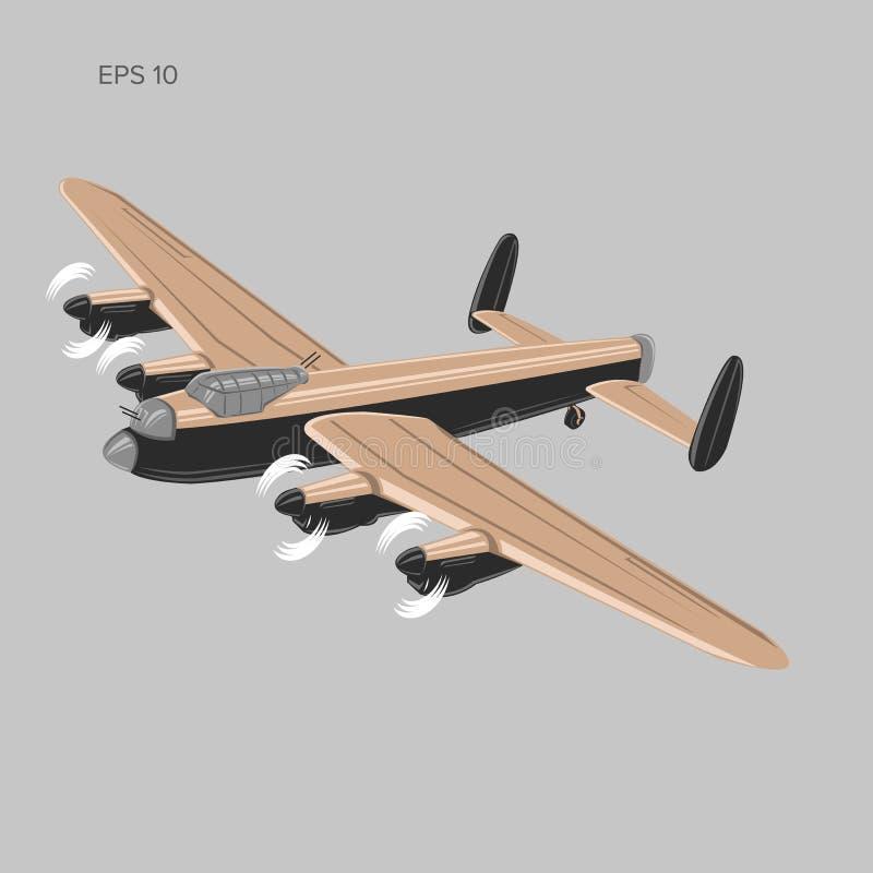 Vetor do bombardeiro do vintage Avião militar WW2 pesado Avião retro legendário ilustração stock