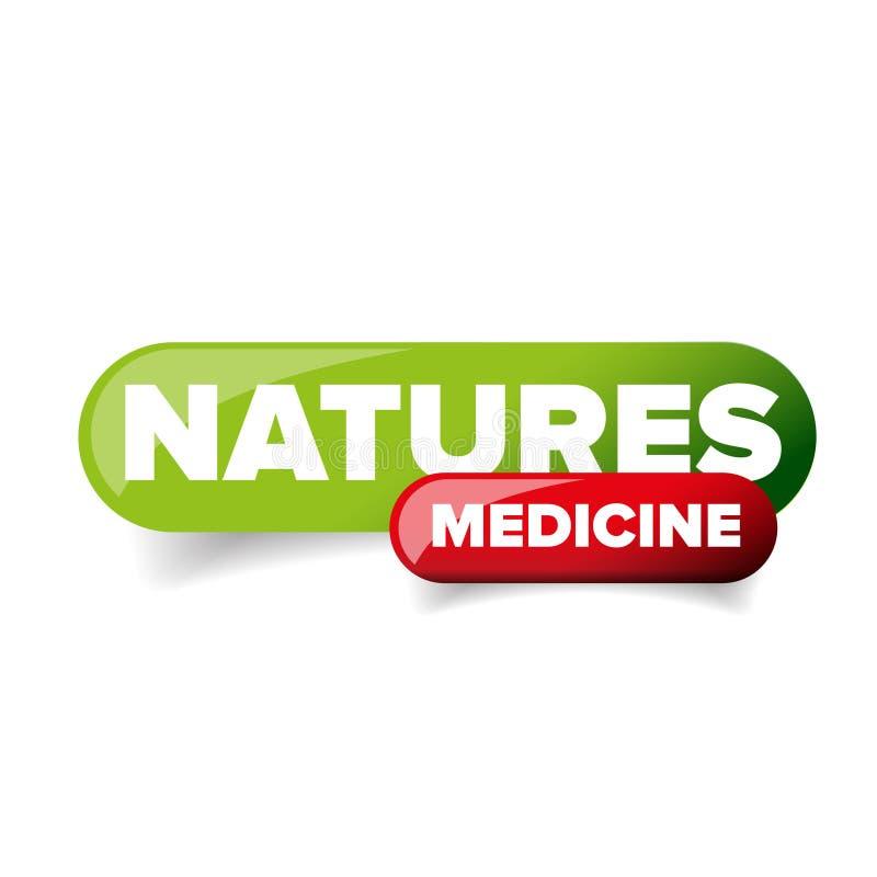 Vetor do botão da medicina das naturezas ilustração do vetor
