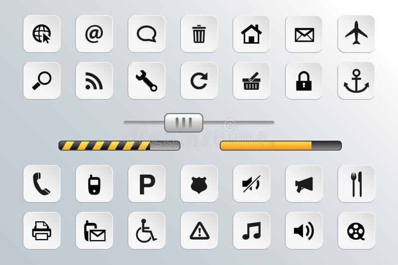 Vetor do botão e do ícone ajustado para a Web ilustração royalty free