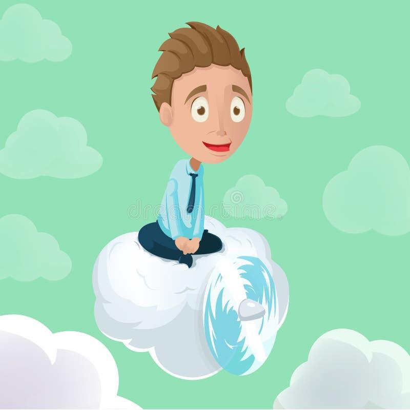 Vetor do céu da hélice da nuvem da equitação do homem ilustração royalty free
