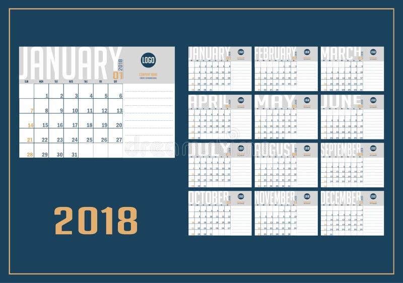 Vetor do calendário do ano 2018 novo ilustração royalty free