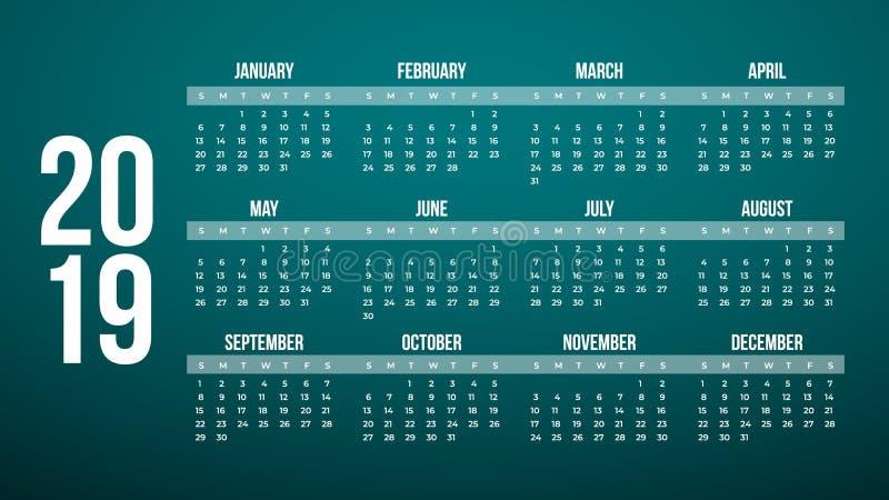 Vetor do calendário do ano 2019 novo na tabela mínima limpa simples na cor moderna, planejador de evento do feriado, começos domi ilustração stock