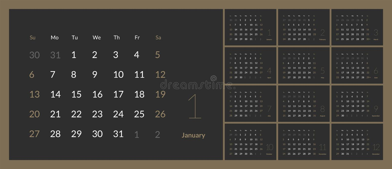Vetor do calendário do ano 2019 novo no estilo simples da tabela mínima limpa ilustração stock
