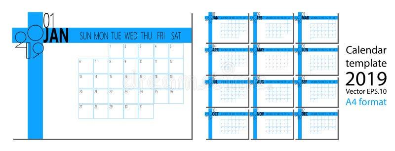 Vetor do calendário do ano 2019 novo no estilo simples da tabela mínima limpa e no tamanho azul da cor A4 ilustração royalty free