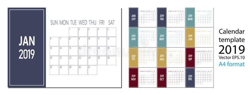 Vetor do calendário do ano 2019 novo no estilo simples da tabela mínima limpa e no tamanho azul da cor A4 ilustração stock