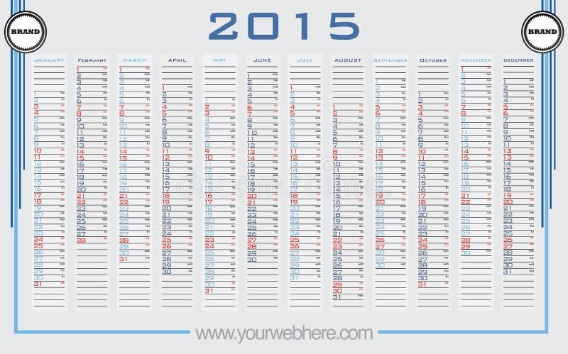 Vetor do calendário de parede 2015 imagens de stock royalty free