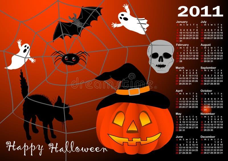 Vetor do calendário do fundo de Halloween. ilustração do vetor