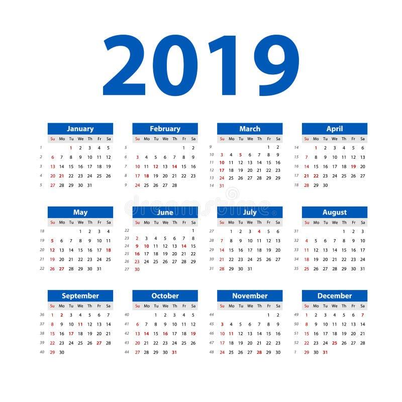 Vetor do calendário no estilo simples da tabela mínima limpa, planejador do ano 2019 novo de evento do feriado, começos domingo d ilustração do vetor