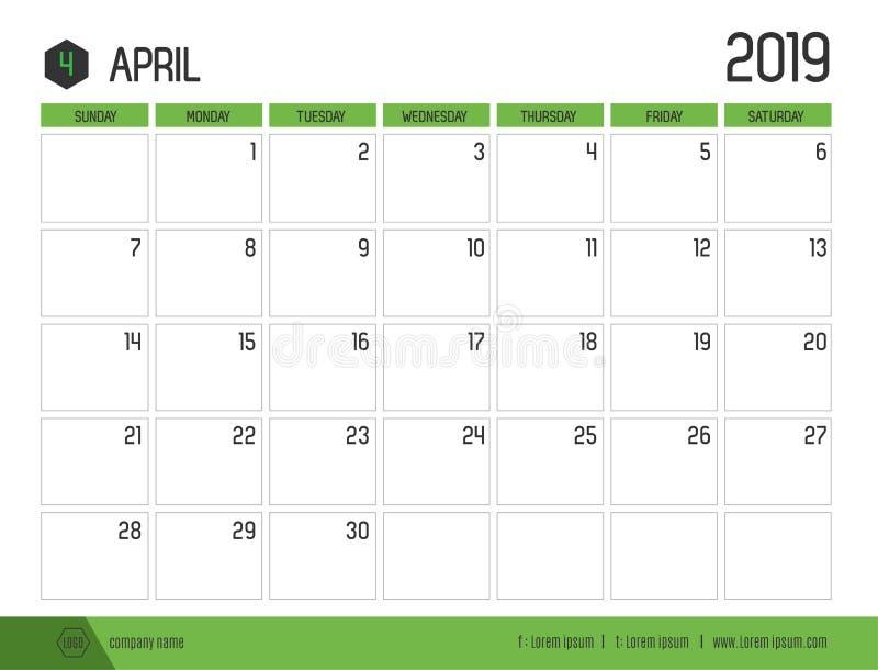 Vetor do calendário verde moderno 2019 abril em t limpo simples ilustração royalty free