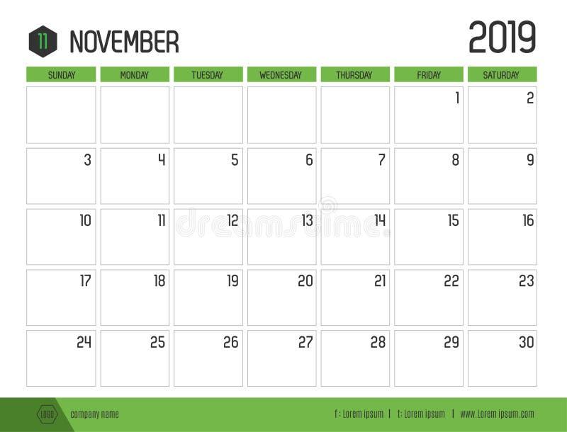 Vetor do calendário verde moderno 2019 dezembro no clea simples ilustração royalty free