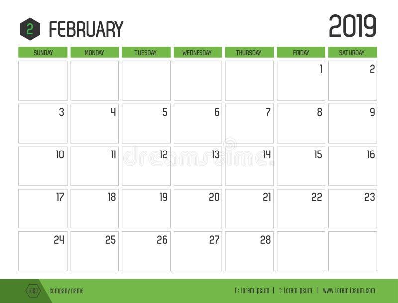 Vetor do calendário verde moderno 2019 fevereiro no clea simples ilustração stock
