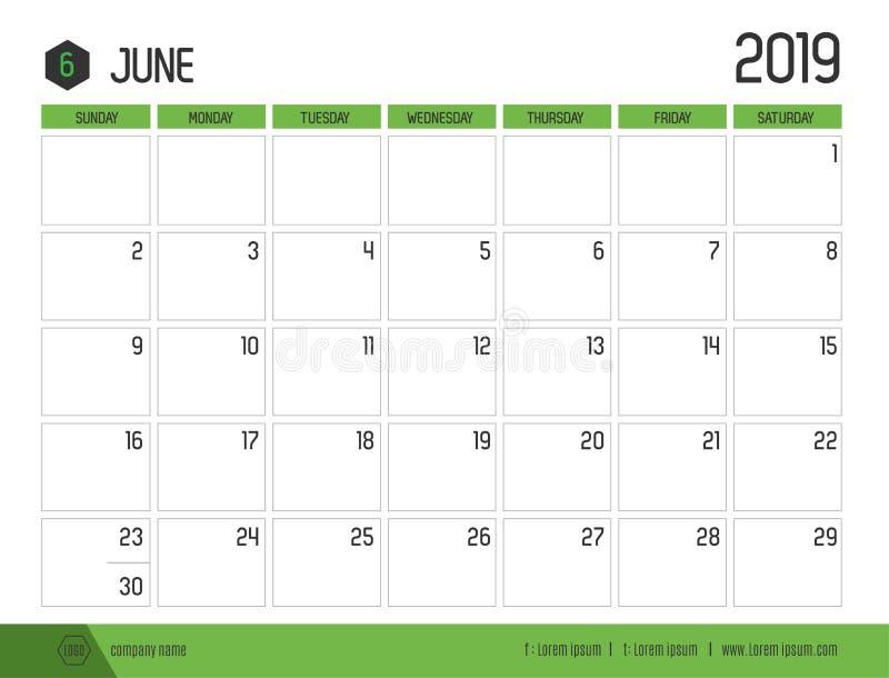Vetor do calendário verde moderno 2019 junho em Ta limpa simples ilustração do vetor