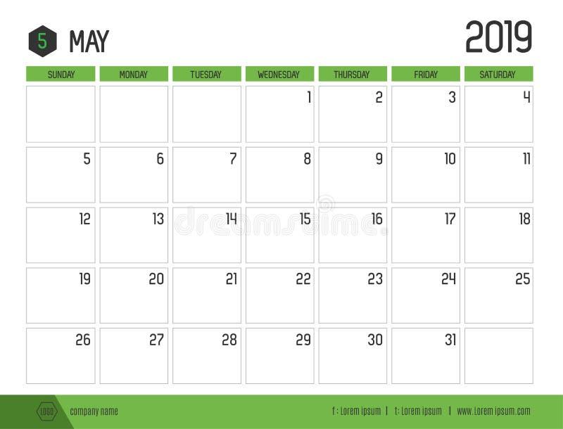 Vetor do calendário verde moderno 2019 maio na aba limpa simples ilustração royalty free