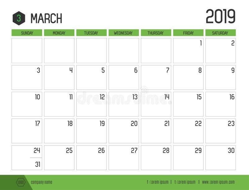 Vetor do calendário verde moderno 2019 março em t limpo simples ilustração stock