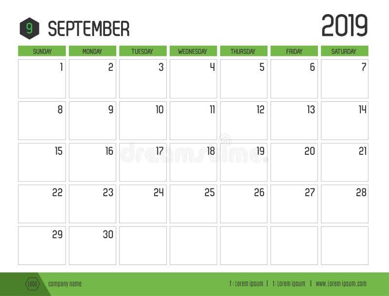 Vetor do calendário verde moderno 2019 setembro no cle simples ilustração stock