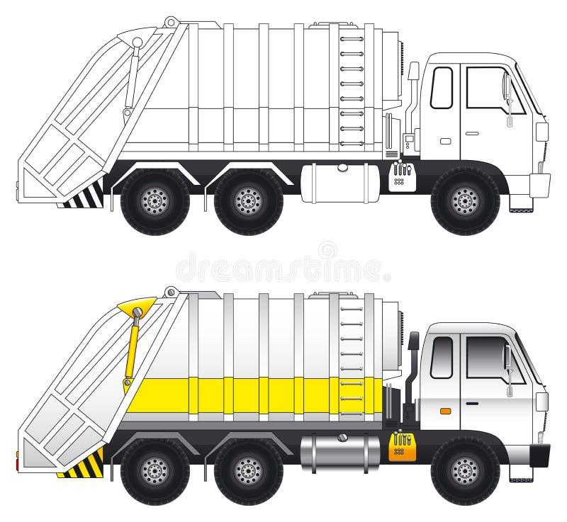 Vetor do caminhão do compressor do lixo ilustração do vetor