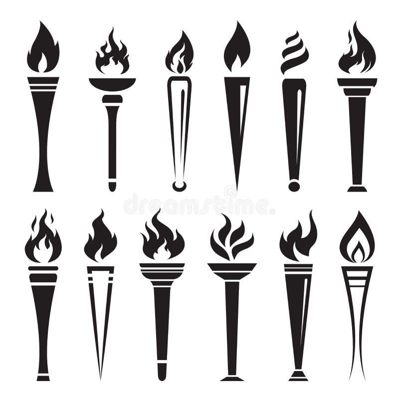 Vetor do campeão da vitória da tocha do fogo no fundo branco flama ilustração royalty free