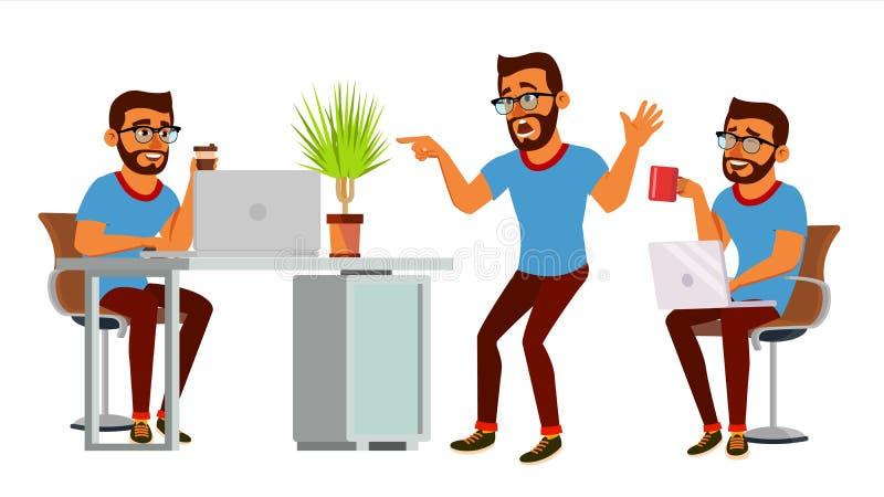 Vetor do caráter do homem de negócio Homem hindu de trabalho bearded Estúdio criativo do processo do ambiente Programador web ilustração royalty free