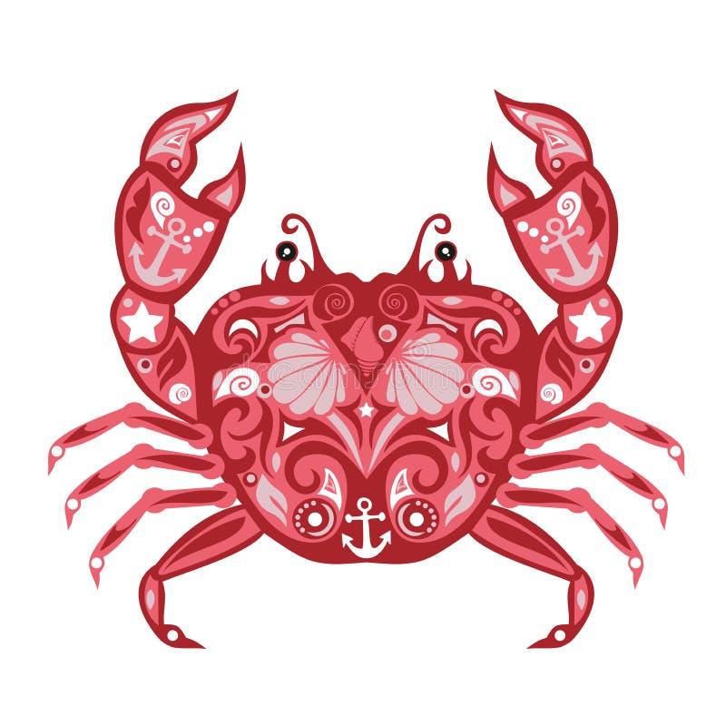 Vetor do caranguejo, mar animal, projeto crustáceo, ilustração para crianças, teste padrão floral, molde da etiqueta, decoração e imagem de stock royalty free