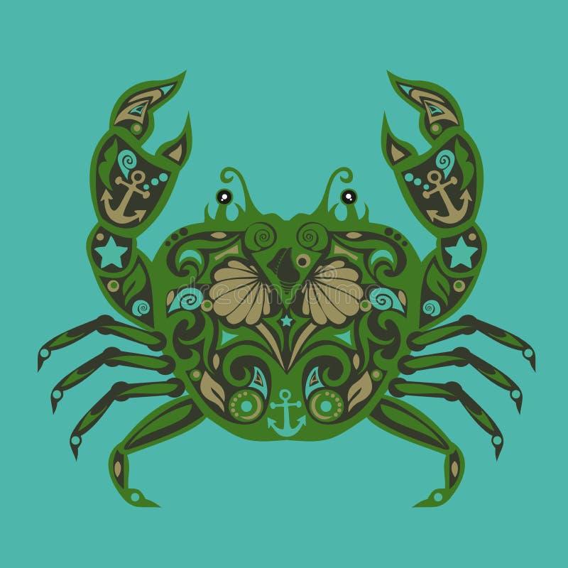 Vetor do caranguejo, mar animal, projeto crustáceo, ilustração para crianças, teste padrão floral, molde da etiqueta, decoração e foto de stock royalty free