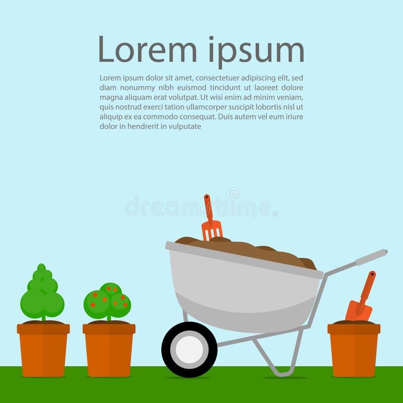 Vetor do carrinho de mão das ferramentas de jardim do vaso de flores ilustração royalty free