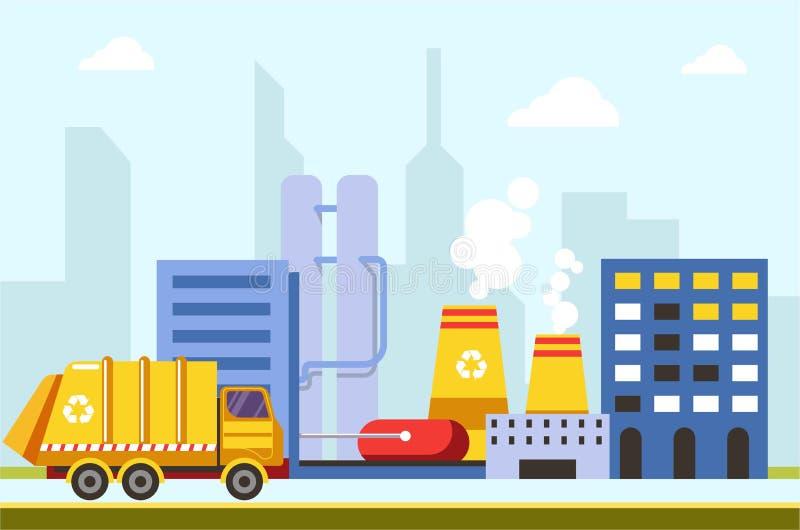 Vetor do carro das construções e das fábricas da infraestrutura da cidade da cidade ilustração do vetor