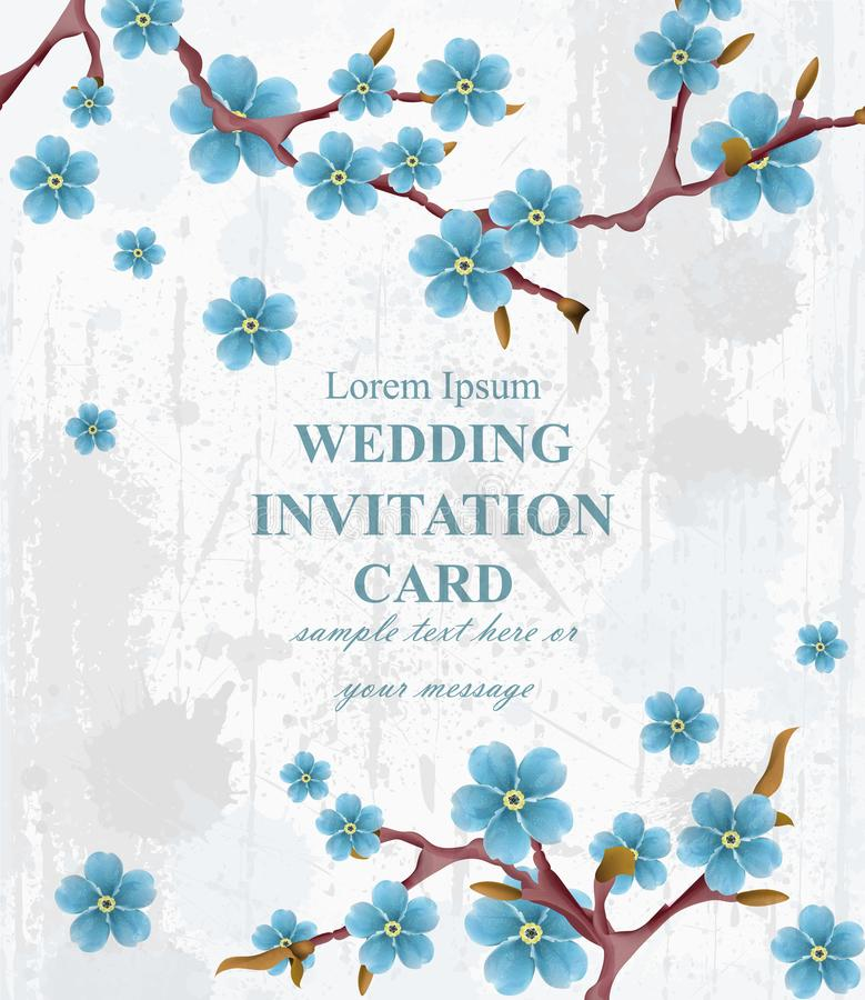 Vetor do cartão do convite do casamento Flores azuis da mola Fundos florais verticais bonitos do quadro 3d ilustração royalty free