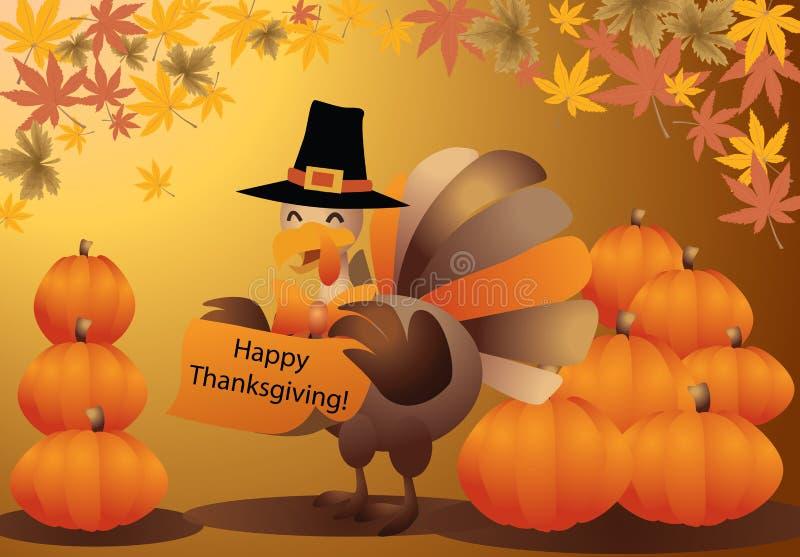 vetor do cartão da abóbora de Halloween do peru da acção de graças ilustração royalty free