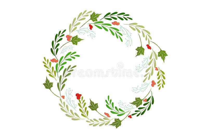 Vetor do cartão de cumprimentos da grinalda do Natal ilustração stock
