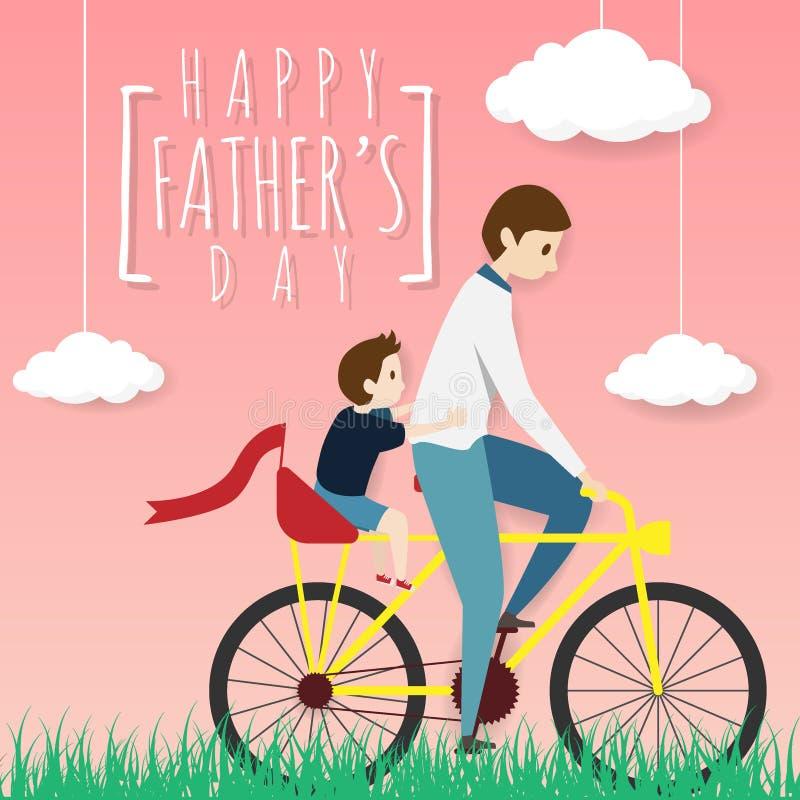 Vetor do cartão feliz do dia de pai bicicleta biking do pai com seu passeio do filho em um assento traseiro, montando no campo de ilustração stock