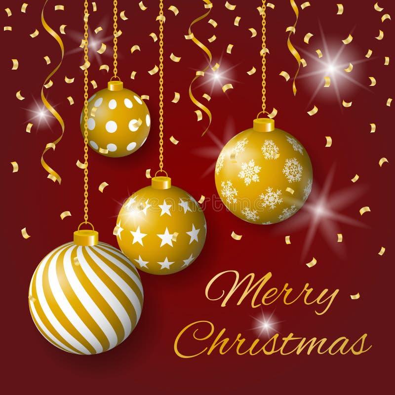 Vetor do cartão do Feliz Natal com bulbos, as estrelas e confetes dourados no fundo vermelho ilustração stock
